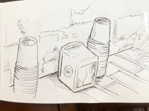 Drawing of cafe coffee cups