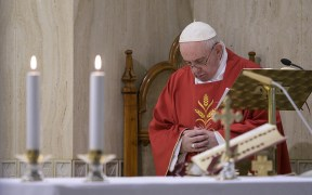 Pope Francis prays