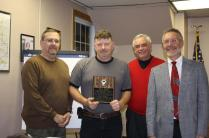 Former Town of Parish Supervisor's Bill Scriber and Frank House and current Supervisor Stephen J. Stelmashuck congratulate Carl Dayger. Carl Dayger was recognized with admiration in the highest regard by the County of Oswego for 28 years if distinguished and dedicated service to the Town of Parish Highway Dept. 1982 - 2009