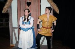 The self absorbed Gaston (Alex Bawarski -right) explains to the beautiful Belle (Chelsea Avery - left) how much fun she will have being his wife. She can't bear the thought - and dreams of life filled with excitement and adventure beyond her village. Photo by Dave Dayger.