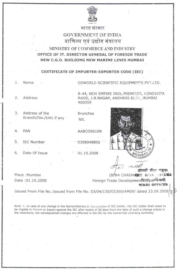 Certificate of Importer-Exporter Code (IEC) by Government of India