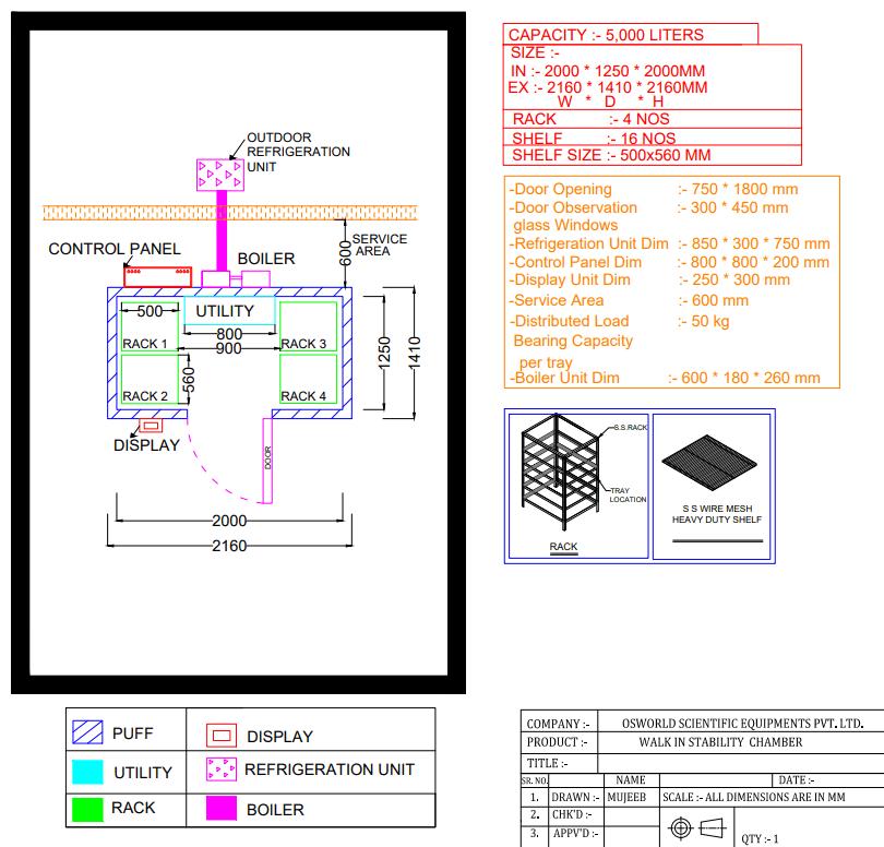 GA Drawing Walk-in Stability Chamber