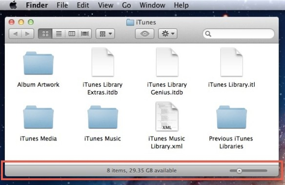 Status bar in Mac OS X Lion Folders