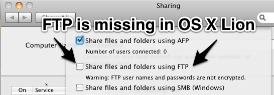 FTP Server missing in OS X Lion, but you can enable it anyway