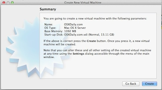 Create a new OS X virtual machine