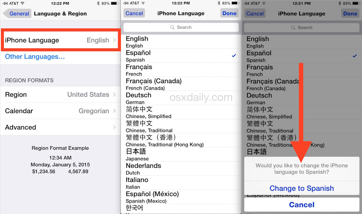 Can i change language in spanish to english on iphone 6s