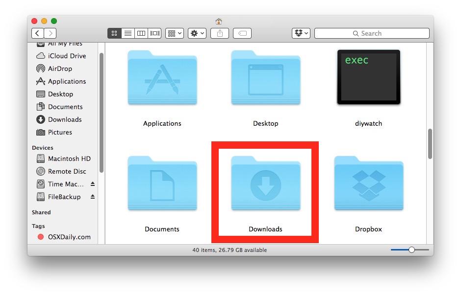 pin downloads folder to taskbar mac