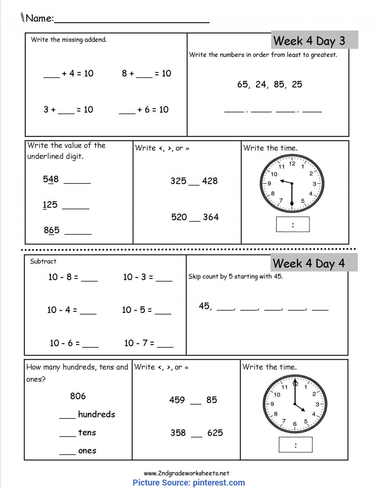 Daily 2nd Grade Math Worksheets