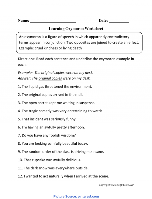 small resolution of Interesting Lesson Plan In Literature For Grade 9 Oxymoron Figurative  Language Worksheets   Englishlinx.Com Boar - Ota Tech