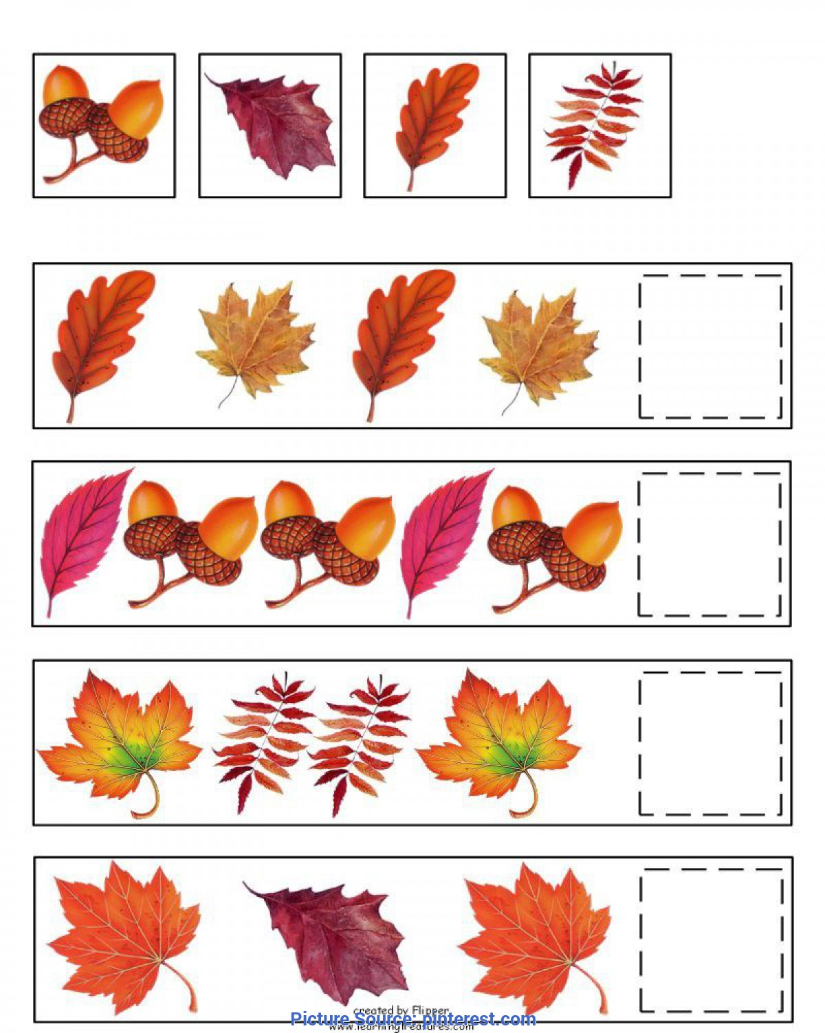 Typical Autumn Pictures For Preschool Fall Pattern Skills