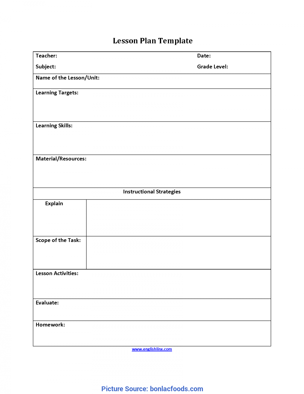 Typical Common Core Lesson Plan Template 8th Grade Ela