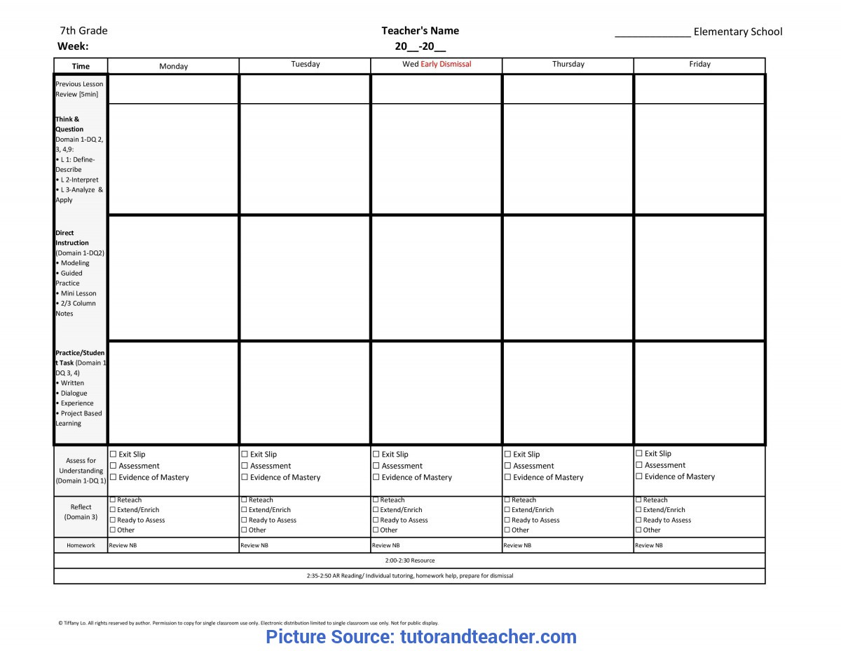 Typical Reading Lesson Plan Template 7th Seventh Grade
