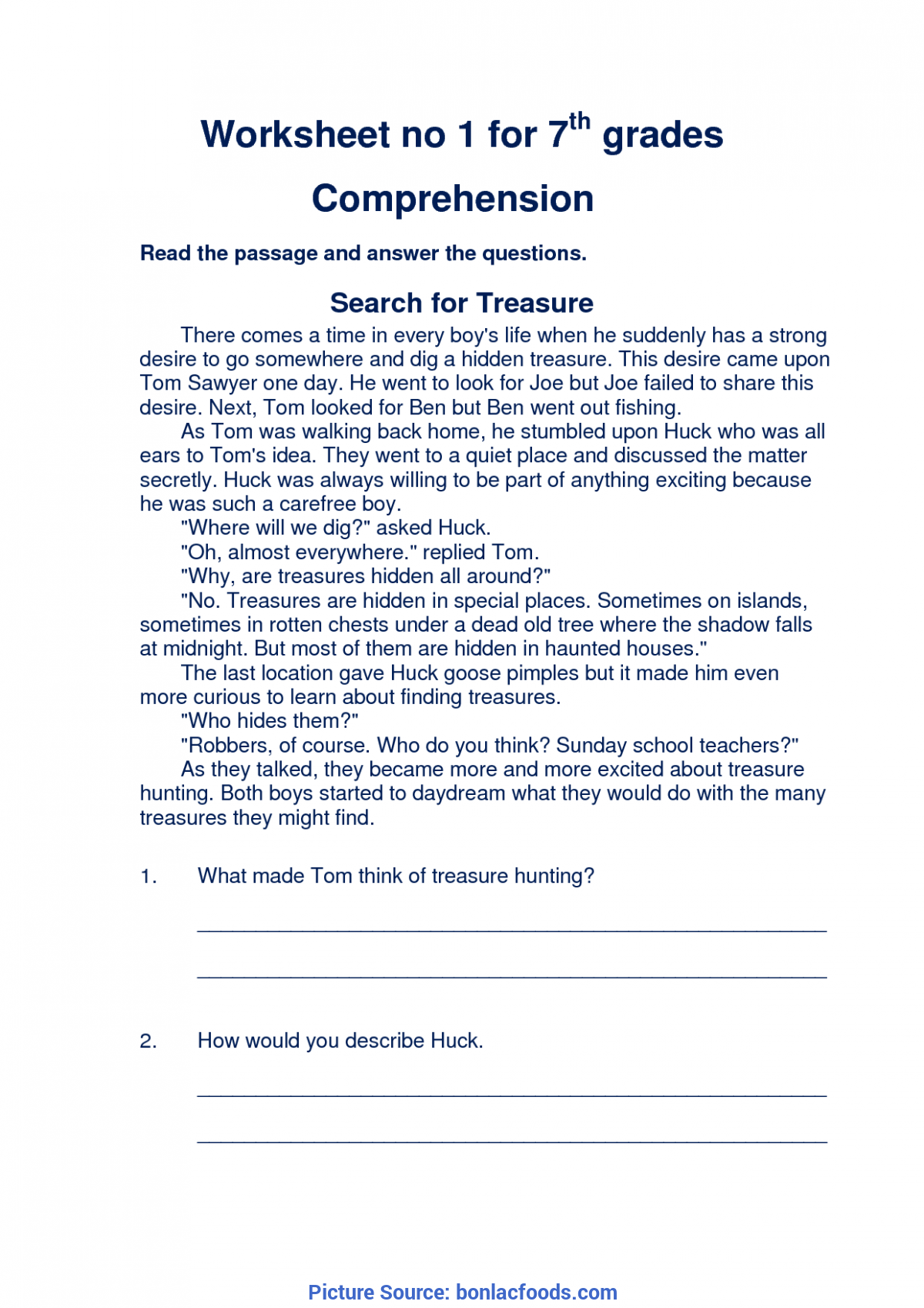 Unusual 7th Grade Reading Lesson Plans Worksheets For All