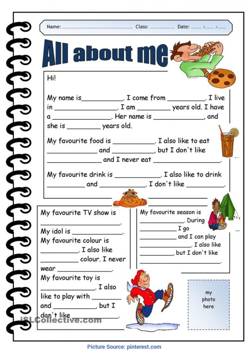 small resolution of All About Me Worksheet For Middle School Students - Promotiontablecovers