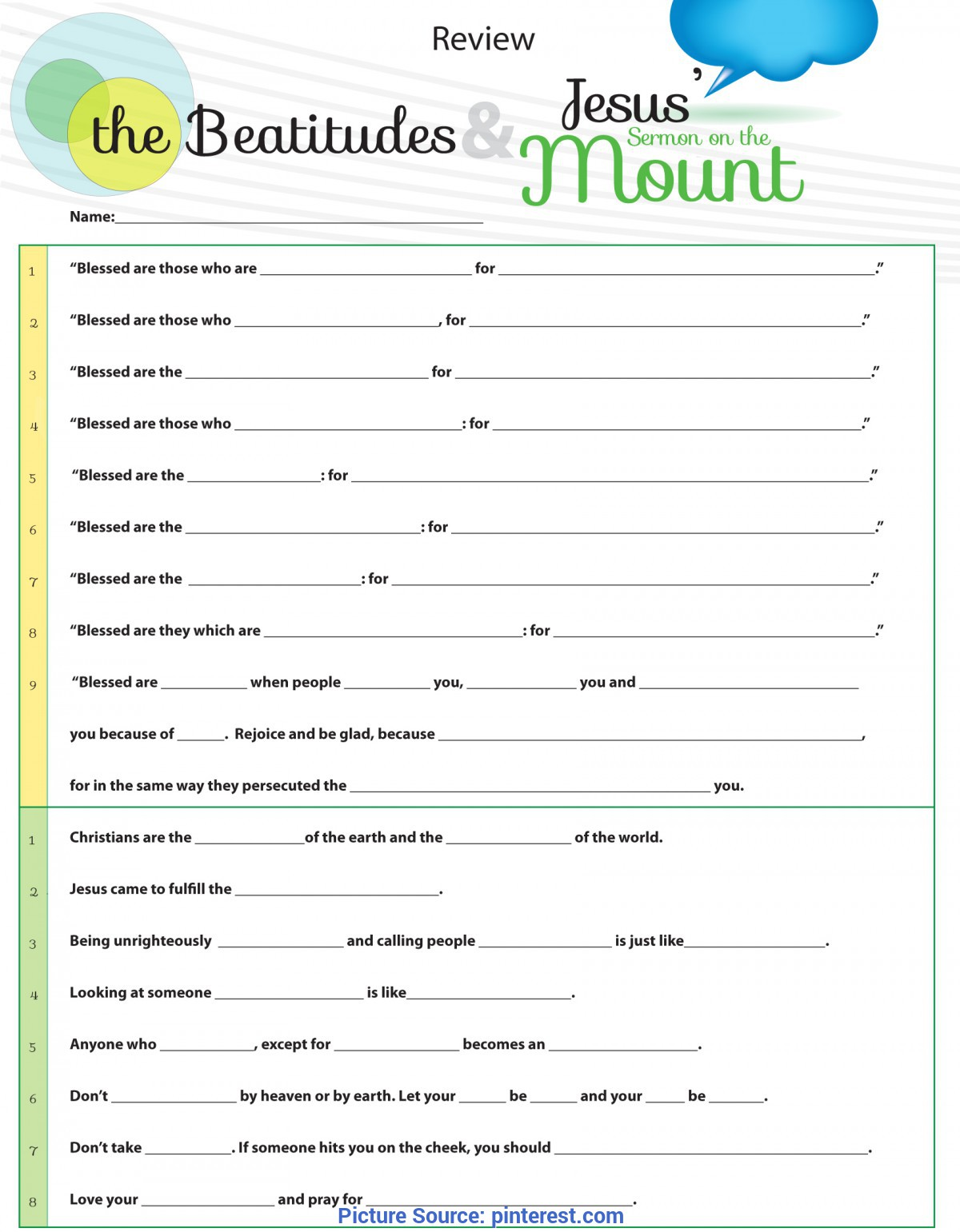 Unusual Lesson Plan For Sunday School Youth Worksheet To Teach Jesus Sermon On The Mount From