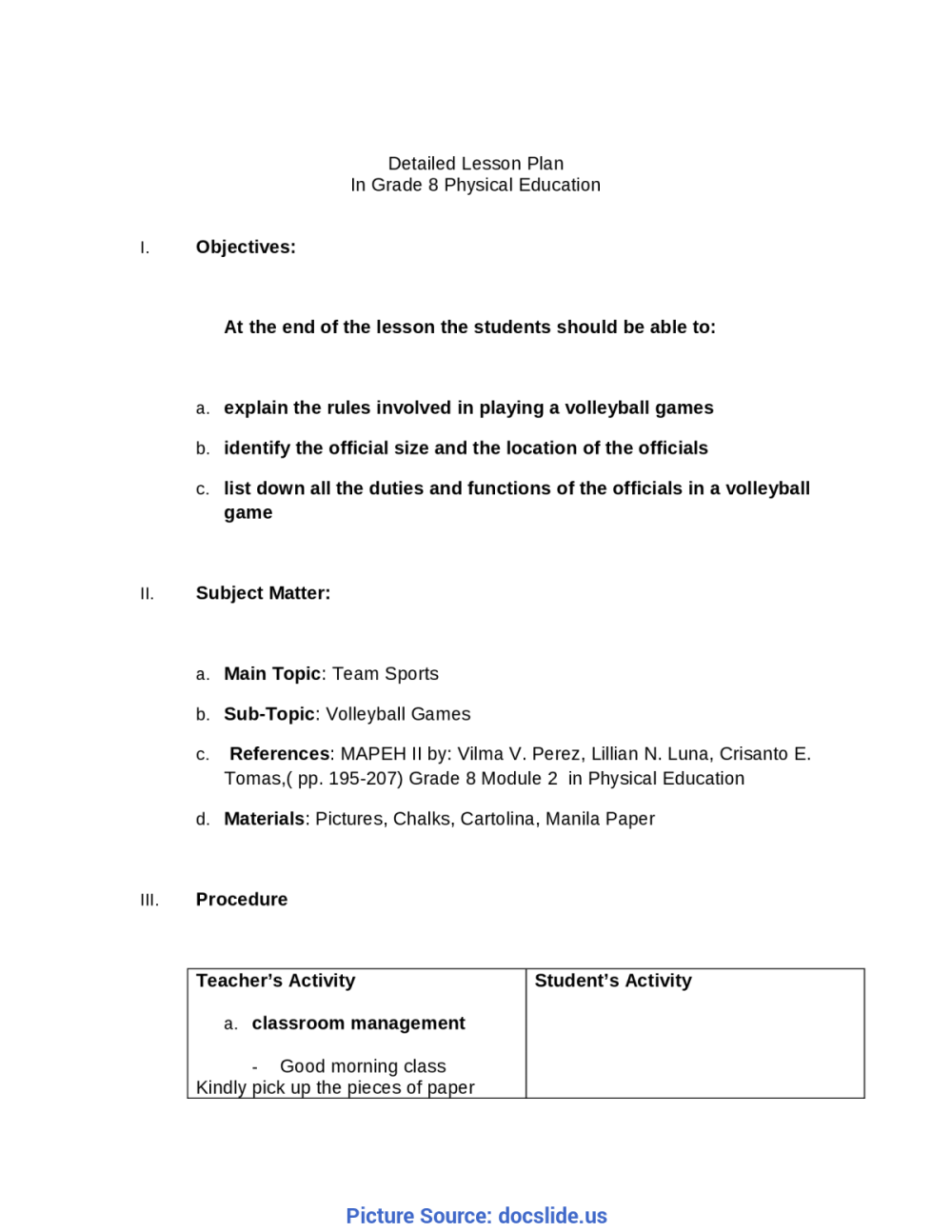medium resolution of Unusual Lesson Plan Sample Mapeh Detailed Lesson Plan In Grade 8 Mapeh -  Docum - Ota Tech