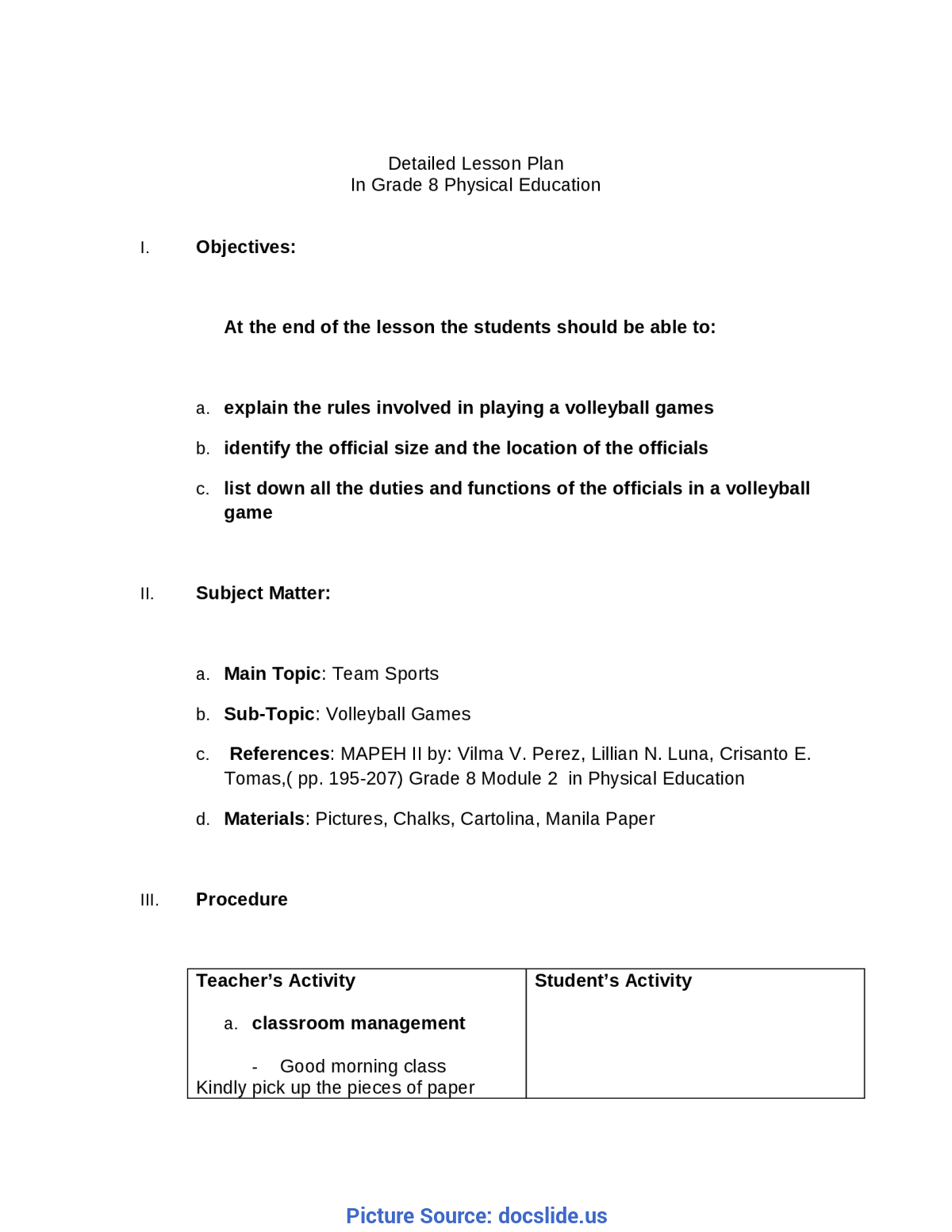 hight resolution of Unusual Lesson Plan Sample Mapeh Detailed Lesson Plan In Grade 8 Mapeh -  Docum - Ota Tech