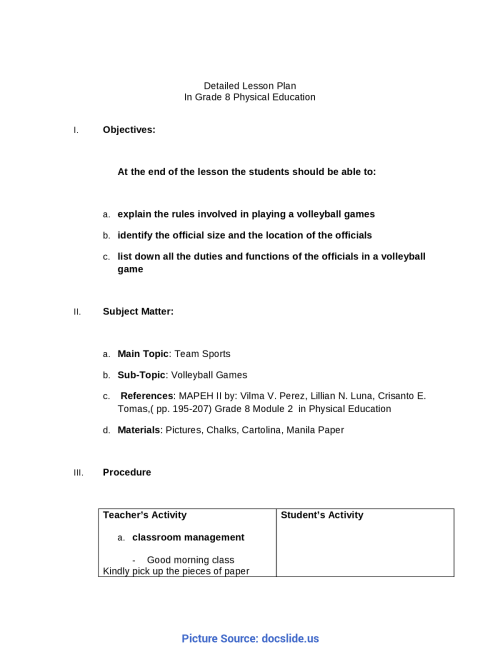 small resolution of Unusual Lesson Plan Sample Mapeh Detailed Lesson Plan In Grade 8 Mapeh -  Docum - Ota Tech