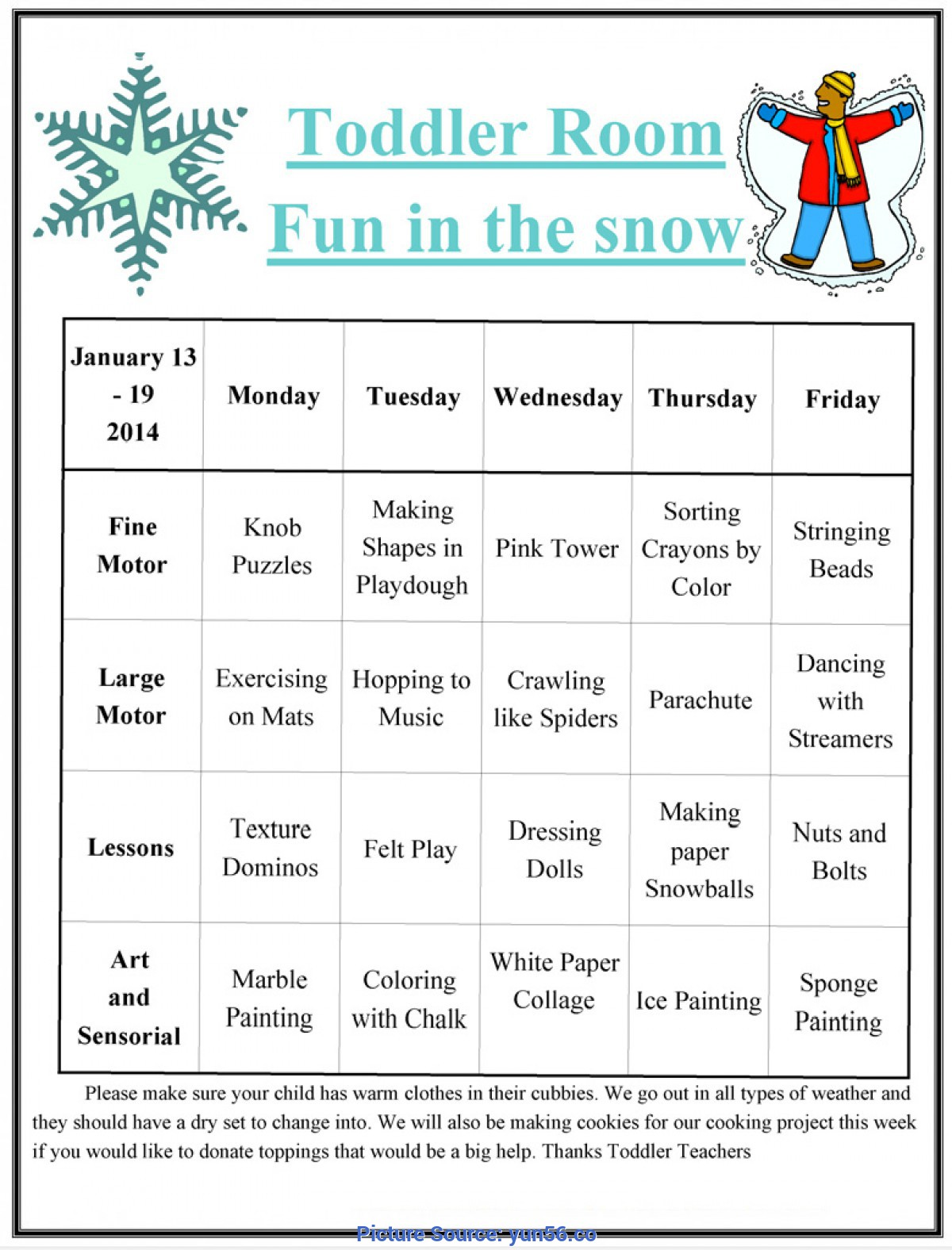 January Lesson Plan Themes For Toddlers