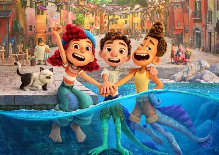 Giulia, Luca e Alberto no cartaz do filme Luca.
