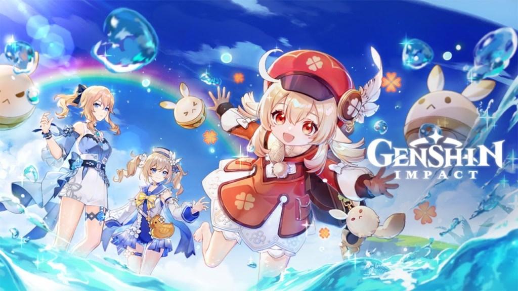 Evento temporário da atualização 1.6 de Genshin Impact, Klee ao centro, Barbara e Jean ao fundo, todas na praia