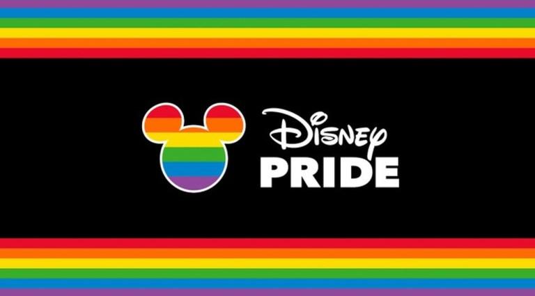 Bandeira Lgbtqiap+ ilustrada nas bordas da imagem e dentro da silhueta do Mickey Mouse, acompanhada da frase Disney Pride