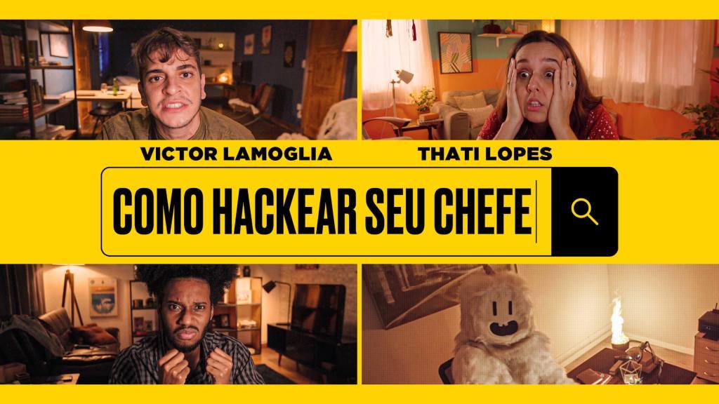 Victor Lamoglia, Thati Lopes e Esdras Saturnino em imagem promocional de Como Hackear Seu Chefe