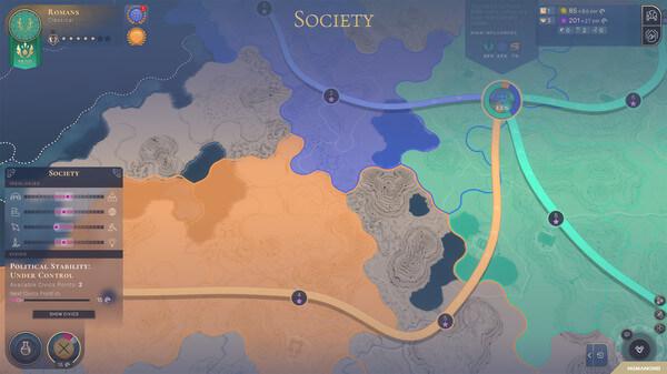 Mapa evidenciando por cor os diferentes povos tentando controlar uma terra