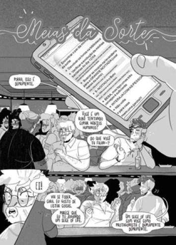 """Imagem que mostra a primeira página da história em quadrinhos """"Meias da Sorte"""" de Renata Nolasco, parte da POC Con 2021."""