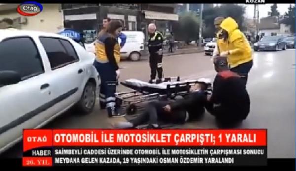 KOZAN'DA OTOMOBİL İLE MOTOSİKLET ÇARPIŞTI