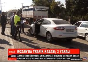 KOZAN'DA İKİ OTOMOBİLİN KARIŞTIĞI KAZADA, 3 KİŞİ YARALANDI