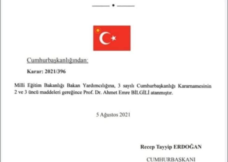 Hemşehrimiz, Prof. Dr. Ahmet Emre Bilgili Milli Eğitim Bakan Yardımcısı olarak atandı