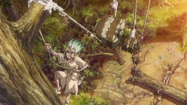 Dr Stone Episode 6 Senku Builds Pulley System To Save Kohaku