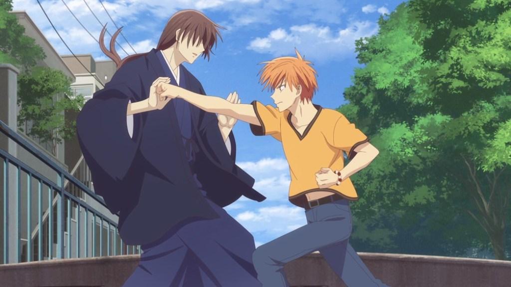 Fruits Basket Episode 25 Kazuma and Kyo sparring