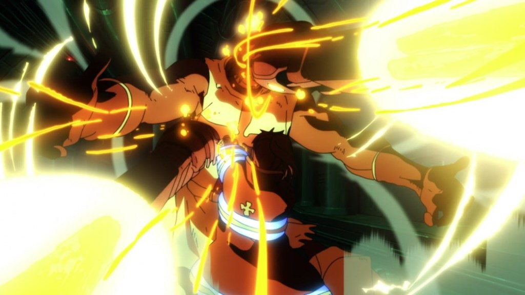 Fire Force Episode 19 Maki triple hit attack on Flail