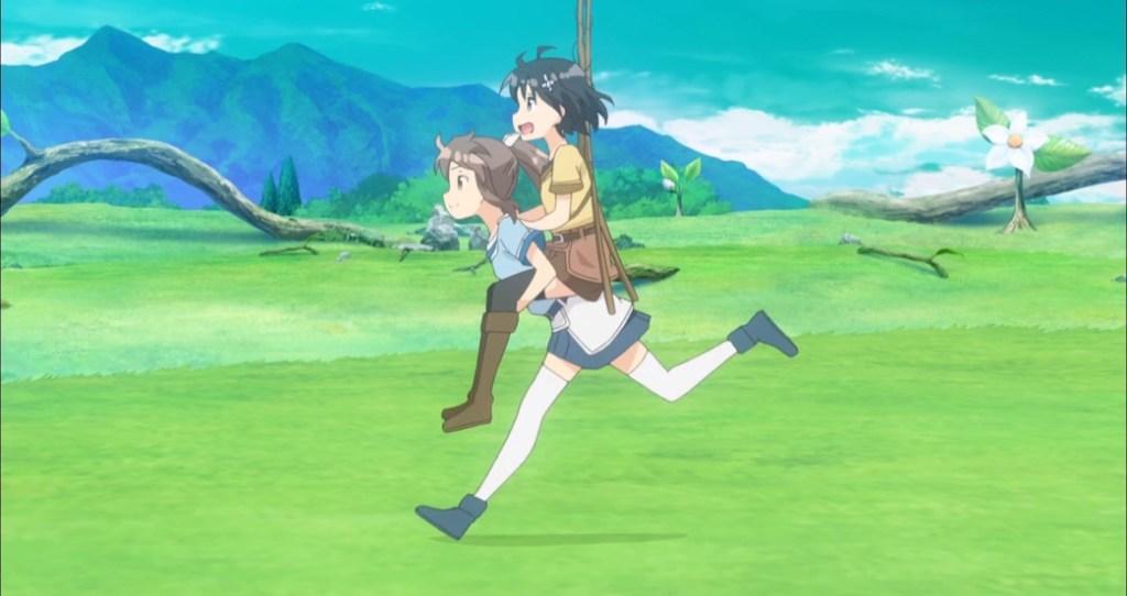 BOFURI Episode 2 Sally carrying Maple
