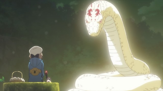 InSpectre Episode 2 Kotoko talking with the Giant Snake Yokai