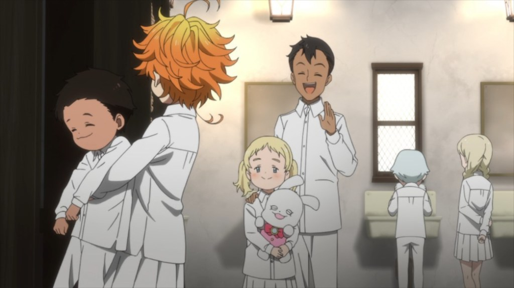 The Promised Neverland Episode 1 Emma Phil Don and Connie