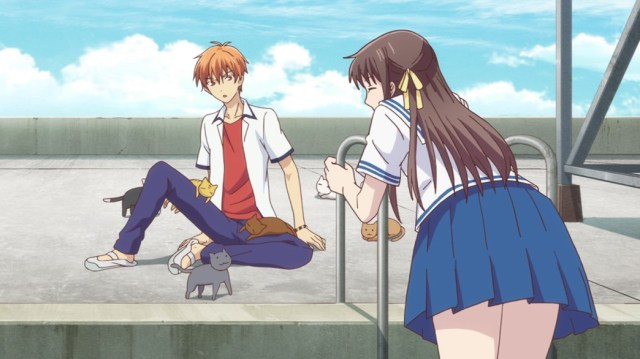 Fruits Basket Episode 3 Tohru and Kyo with cats