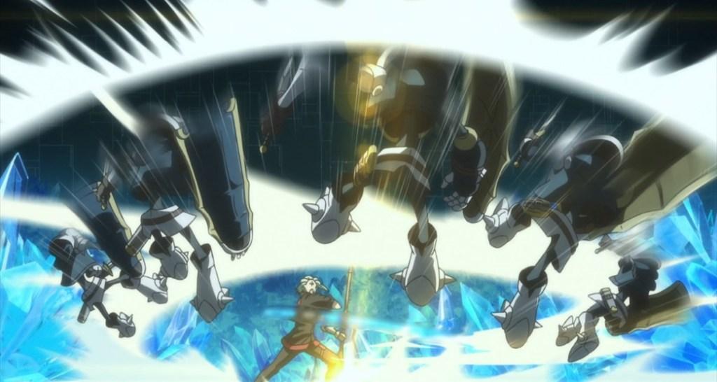 Shachibato President it's time for battle Episode 5 Rivar attacking strange mechanical Maju