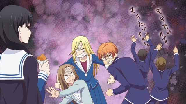 Fruits Basket Episode 42 Saki watching Arisa and Kyo deny that they like each other