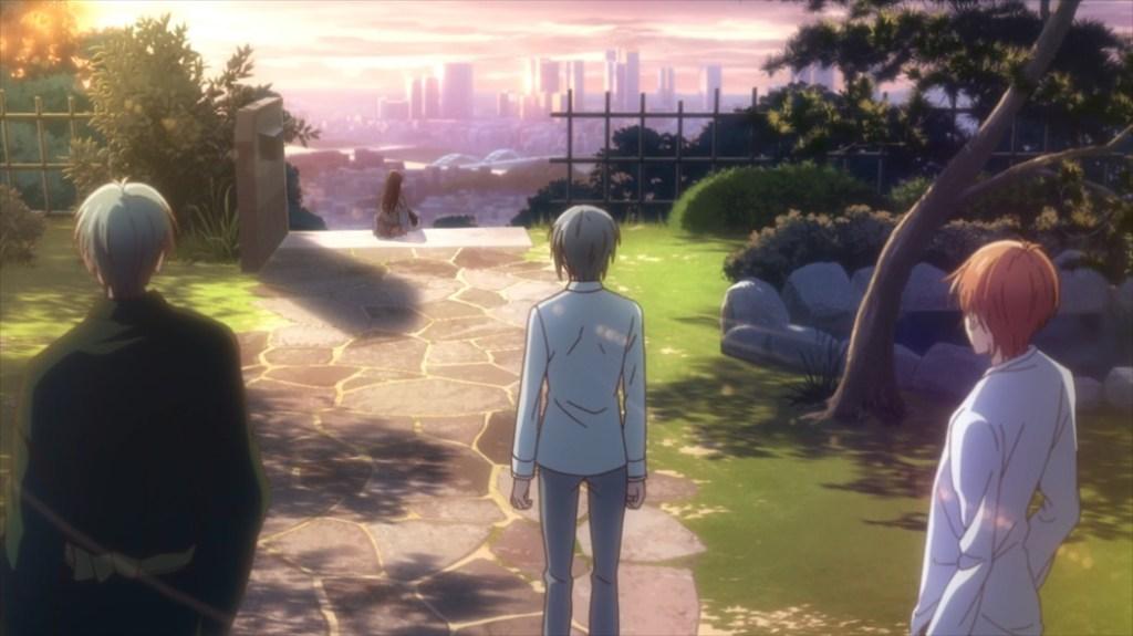 Fruits Basket Episode 44 Shigure Yuki and Kyo watching Rin accept Tohru