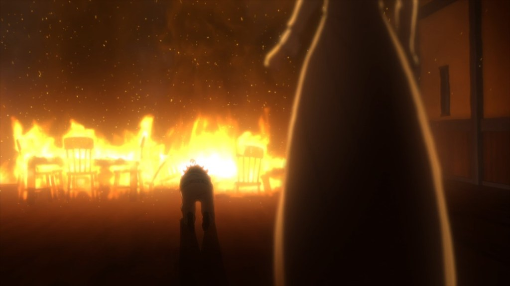 The Promised Neverland Episode 11 Emma and Mom fire