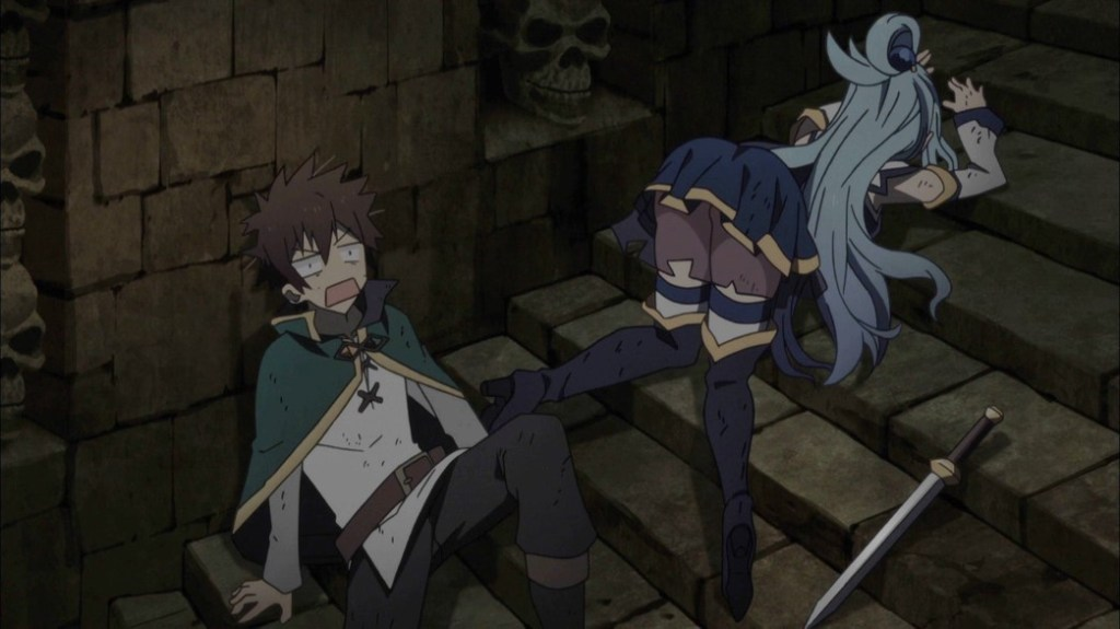 KonoSuba Episode 14 Kazuma and Aqua in the dungeon
