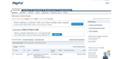Un (présumé) screenshot du compte Paypal de Ahmai