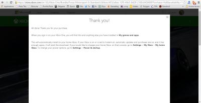Et voilà ! L'achat de Forza 6 est validé, alors que je m'attendais à ce que cela échoue...