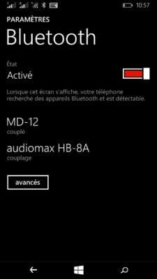 L'écran d'appairage des appareils bluetooth sur Windows Phone