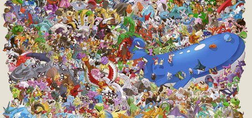 J'adore les dessins où il y a des dizaines de Pokémons, dont un qui ressemble à une saucisse géante bleue u_u' !