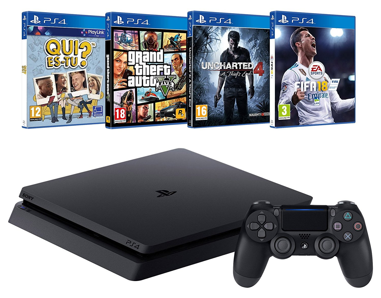 promo la ps4 4 jeux fifa 18 gta v uncharted 4 qui es tu 299 seulement. Black Bedroom Furniture Sets. Home Design Ideas
