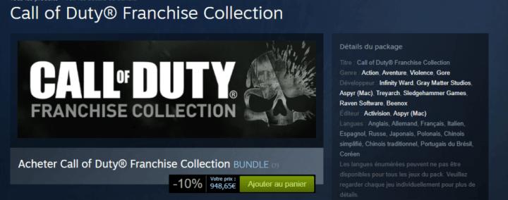 La fameuse franchise Call of Duty arrive à figurer dans ce classement !